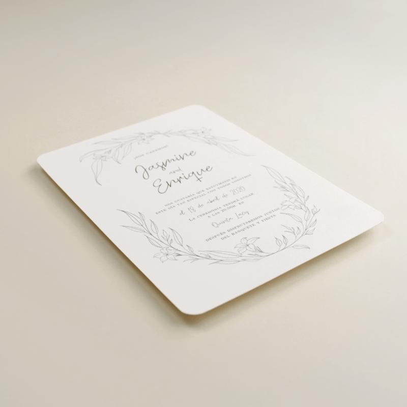 invitacion de boda Damasco. Diseño a una tinta