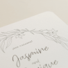 detale invitacion de boda Damasco. Diseño a una tinta