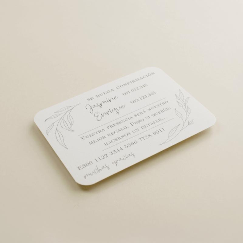 tarjeta informativa para invitación Damasco. tarjeta con el numero de cuenta. lista de boda