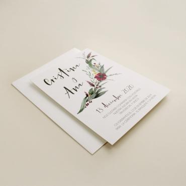 invitacion para bodas silvestres. invitacion con sobre blanco. veladura de papel vegetal para invitacion . Niza