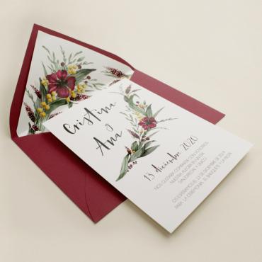invitacion para bodas silvestres. invitacion con sobre forrado burdeos. veladura de papel vegetal para invitacion . Niza