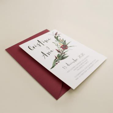 invitacion para bodas silvestres. invitacion con sobre burdeos veladura de papel vegetal para invitacion . Niza