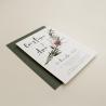 invitacion para bodas silvestres. invitacion con sobre verde olivo. veladura de papel vegetal para invitacion . Niza