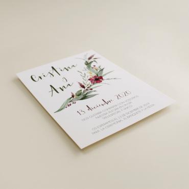 invitacion para bodas silvestres. invitacion con flores de acuarela. invitacion con veladura de papel vegetal.  modelo Niza