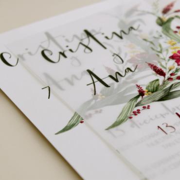 detalle invitacion para bodas silvestres. invitacion con papel vegetal invitacion con veladura de papel vegetal.  modelo Niza