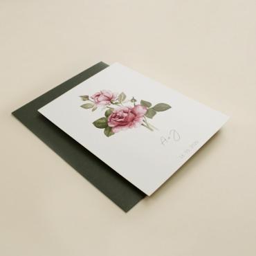 invitacion de boda con flores de acuarela de rosas. invitacion con sobre verde olivo. modelo Estambul I