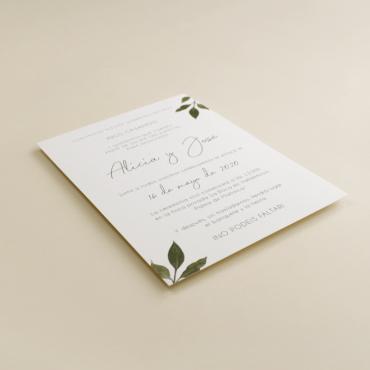 Invitacion de boda original con hojas de acuarela. mod est I
