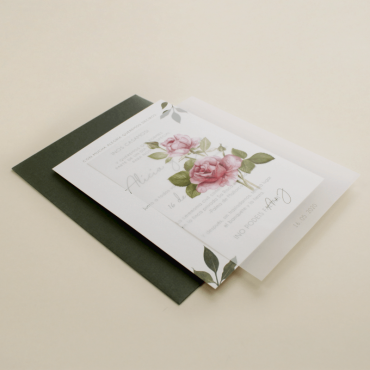 Invitacion de boda con flores de acuarela. invitacion de papel vegetal. Sobre verde olivo. veladura de papel vegetal. est II