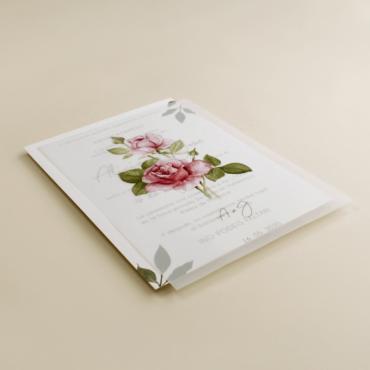 Invitacion de boda original con flores de acuarela de rosas. invitacion de papel vegetal. veladura de papel vegetal. mod est II