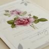 detalle invitacion de boda con flores de acuarela de rosas. invitacion de papel vegetal. veladura de papel vegetal. mod est II