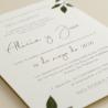 detalle Invitacion de boda original con hojas de acuarela. mod est II