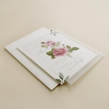 Invitacion de boda con flores de acuarela. invitacion de papel vegetal. Sobre blanco. veladura de papel vegetal. est II