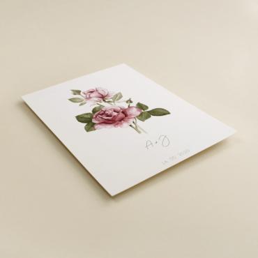 invitacion de boda con flores de acuarela de rosas. Invitacion de papel texturizado modelo Estambul III