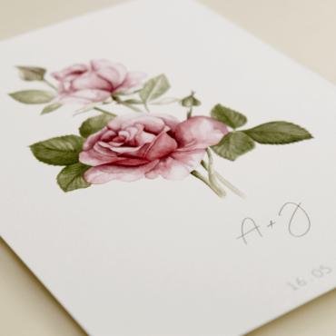detalle invitacion de boda con flores de acuarela de rosas. Invitacion de papel texturizado modelo Estambul III