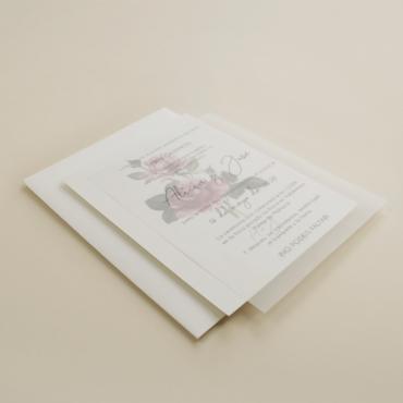 invitacion de boda con papel vegetal. invitacion con sobre blanco. invitacion de boda Estambull III