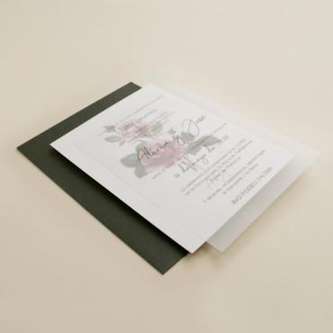 invitacion de boda con papel vegetal. invitacion con sobre verde olivo. invitacion de boda Estambull III