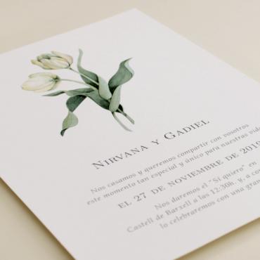 Invitación de boda con flores de acuarela de tulipanes. Modelo Ámsterdam