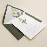 Invitación de boda con flores de acuarela de tulipanes. Invitación de boda con sobre forrado color verde olivo. Modelo Ámsterdam
