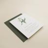 Invitación de boda con flores de acuarela de tulipanes. Invitación de boda con sobre verde olivo. Modelo Ámsterdam
