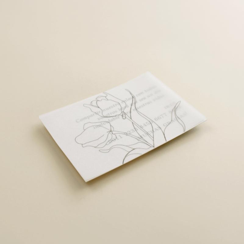 tarjeta informativa de invitación de boda con veladura de papel vegetal. Modelo Ámsterdam