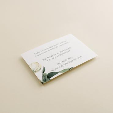 tarjeta informativa de invitación de boda. cara B. Modelo Ámsterdam