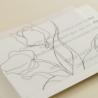 detalle tarjeta informativa de invitación de boda con veladura de papel vegetal. Modelo Ámsterdam