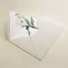 sobre forrado hueso con flores de acuarela de tulipanes. Sobre de invitacion Ámsterdam