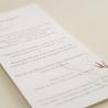 Detalle de la impresión del menú de la minuta de boda Praga I